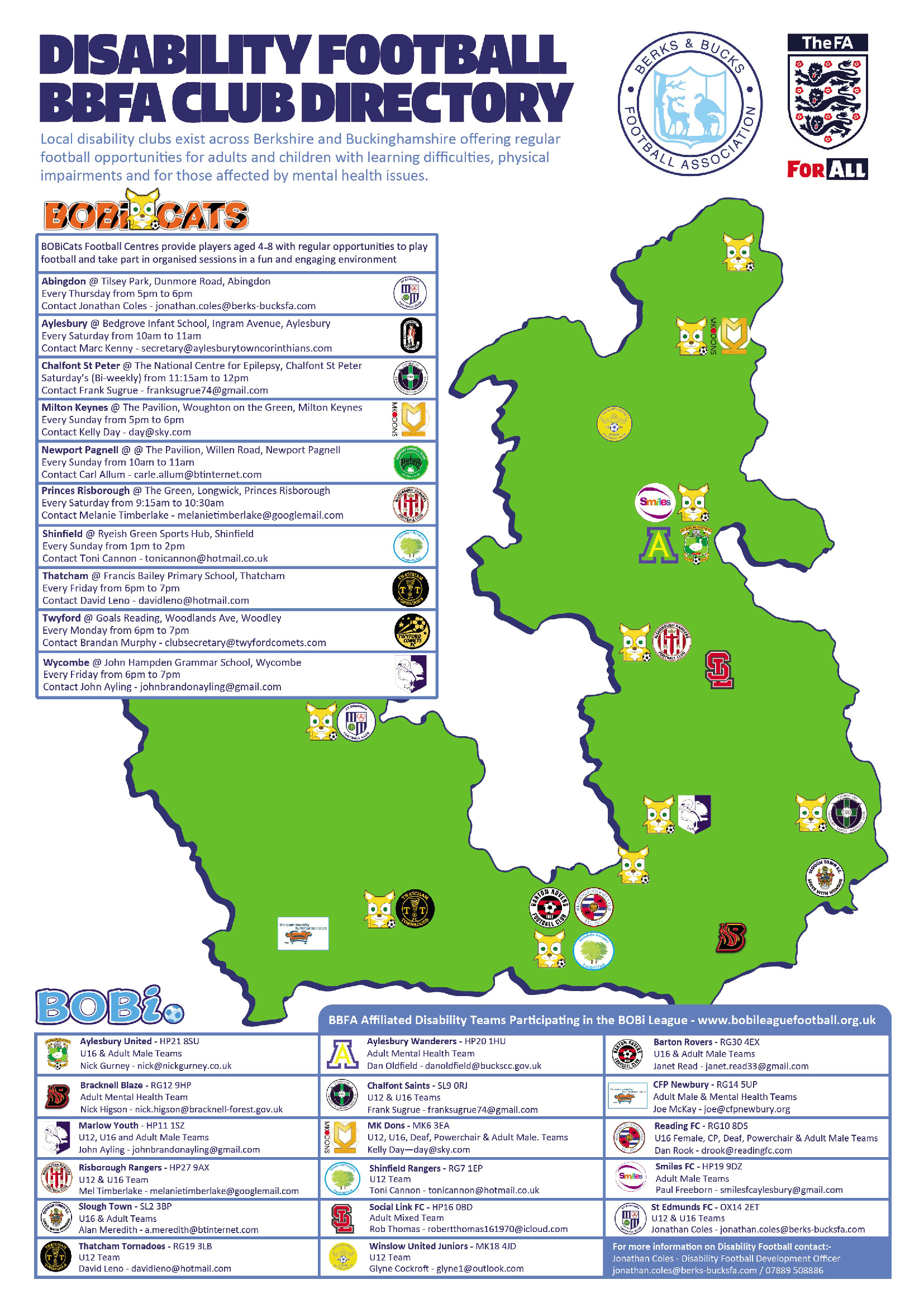 BBFA Club Directory Map